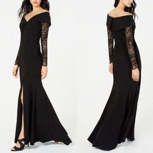 Xscape Black Gown Long Sleeve Lace Formal Size 12